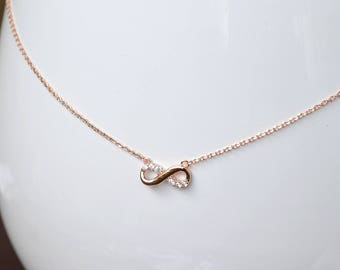Infinity necklace pink gold