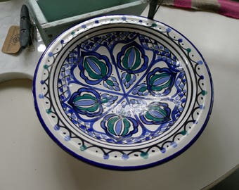 Handpainted ceramic bowl - white with cobalt blue