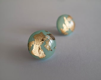 Mint Green Gold Round Stud Earrings - Hypoallergenic Titanium Posts