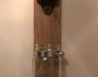 Mason jar bottle opener  rustic bottle opener