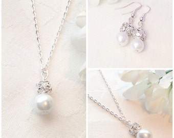 Pearl Necklace, White Pearl Necklace, Pearl Jewellery, Bridesmaid Jewelry, Wedding