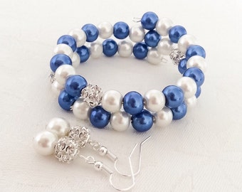 Blue & Ivory Pearl Bracelet and Earrings Set Blue Jewelry Wedding Blue Pearl Jewelry Bridesmaid Gift