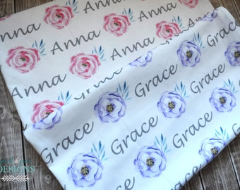 Personalized baby name swaddle floral pink or purple blanket: baby and toddler personalized name newborn hospital gift baby shower gift