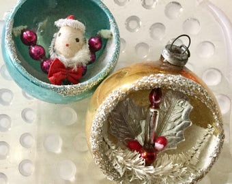 Two vintage Mercury glass gold and blue diorama ornament