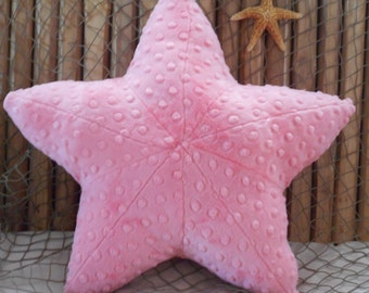 starfish pillow, coral minky dot starfish pillow, nautical decor, nautical bed pillows, nautical nursery pillows, starfish plushie, sea star