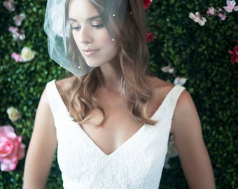 MARIE MEIDUM w/ Pearls All Over - birdcage veil, bird cage veil, blusher veil, tulle bridal birdcage veil, tulle veil, small blusher, veil