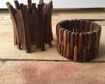 Two Stretch Cuff Bracelets - Wood beads