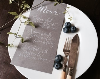 Dove grey modern calligraphy wedding menus with white lettering