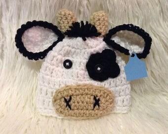 Cow, crochet cow, cow beanie hat