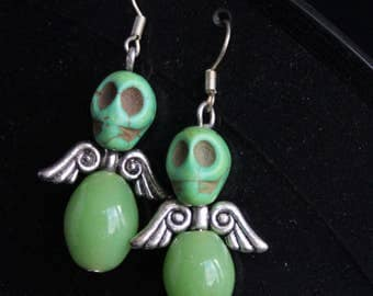 Angel earrings green, with stone beads, gift for sweet girls, girlfriend, wife, earrings for hope, skull, valentinesday, marriage gift