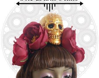 Skull and Red Wine Flower Headdress