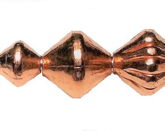 Real Copper Beads Bi-Cone 3mm - 5mm - 5mm Corrugated Approx.100 Beads