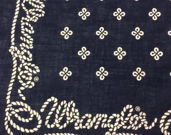Vintage Wrangler Bandana Navy Blue Handkerchief Blue Geometric Knot & Rope Print Made in USA RN # 16429 All Cotton Fast Color Selvedge