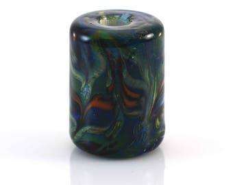 Tropical Trails Silver Glass Handmade Glass Lampwork Bead