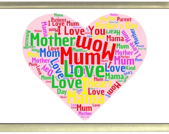 Mother Word Cloud Fridge Magnet 7cm by 4.5cm, Mother's Day, Birthday