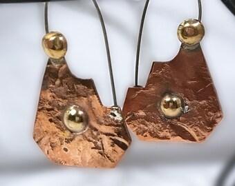 Hammered Copper and Brass Earrings - Boho Copper Earrings