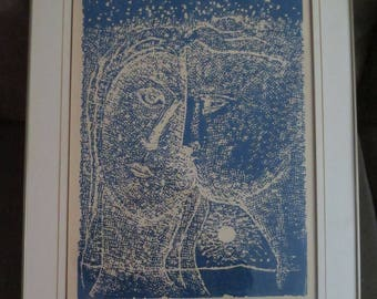 Vintage 1964 Canadian Artist Stanley Lewis Original Stone-cut on rice paper, Signed , Titled Lovers , Numbered 34/50