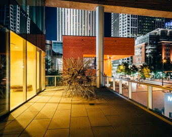 The exterior of the Mint Museum at night, in Uptown Charlotte, North Carolina. | Photo Print, Stretched Canvas, or Metal Print.