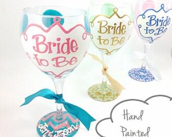 FREE SHIPPING ON 7 Plus Bride to Be Chevron Wine Glass Monogram Personalized Custom Wedding Shower Bachelorette