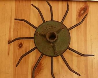 Vintage cast iron metal spike cultivator