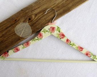Wooden hanger - Decorated hanger - Decoupage - Flowergirl hanger -  Roses - Cream, Pink