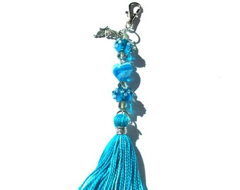 Purse charm/keychain, turquoise beaded with tassel