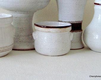 Vintage ceramic  storage jar by Strehla in natural white with pumice glaze and brown trim, Mid century modern kitchen