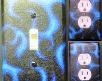 Blue flames light switch wall plate covers kid room bedroom mancave decor