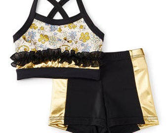 Black and Gold Floral Ruffled Crop Top with Shorts