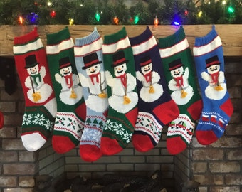 Hand Knitted Snowman Christmas Stockings!