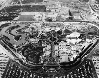 An aerial view of Disneyland in 1956.