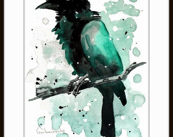 Crow, Original watercolor painting, crow lover art, Crow wall art, raven by Tetiana