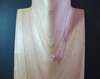 Floating Clear Crystal Pave Heart Glitterball Gold Necklace