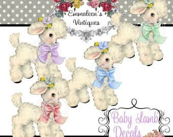 Vintage Shabby Nursery Baby Lamb With Bow Waterslide Decals~AN501~U PICK COLOR