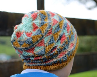 Tribal Knitted Beanie Pattern - Instant Download, knitting pattern, hat pattern, beanie