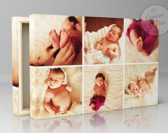 Photos Collage, Custom Canvas Print, Personalized photo, Photo portrait, Cotton canvas, Framed art, Personalized print photo collage