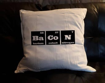 Bacon Spelled with Periodic Table Elements Cushion Pillow Cover Black on White