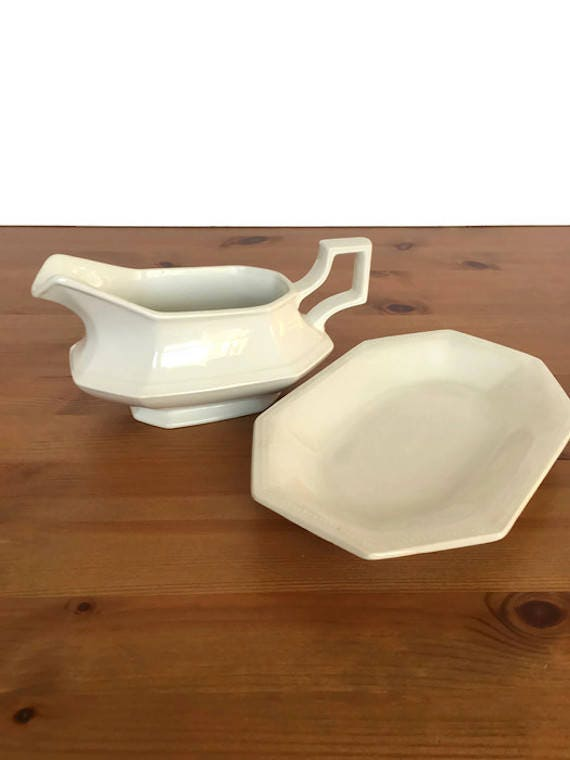 Johnson Brothers gravy boat and underplate ironstone bowl and plate England