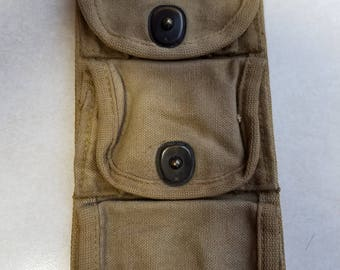 Antique  Vintage WW1 World War I Canvas Army 3 Cartridge Pouch Snaps Marked