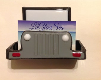 Jeep, Truck, Mechanics, Body Shop, Stained Glass, Business Card Holder, Father's Day