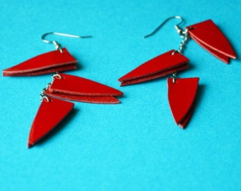 Red Modern earrings, Long triangle earrings, Color block earrings, Red party earrings, Mum earring gift,Statement red earrings, gift for mum