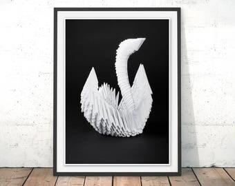 Swan Print Swan Wall Art Swan Lake Art Print Swan Papercraft Swan Origami Poster Home Decor White Swan Art Print