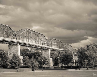 Chattanooga Photography Walnut Street Bridge Black & White Sepia Neutral Tones Wall Art Coolidge Park Large Print Canvas 40x30 36x24 30x20