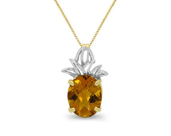"14k solid gold pineapple pendant with genuine citrine stone.18"" chain. item6C738"