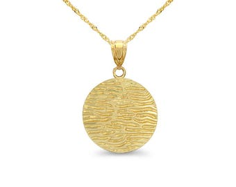 """14k solid gold fancy disc pendant on 18"""" solid 14k gold chain. animal print pendant."""