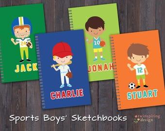 Sketch Books for Boys | Baseball Basketball Football Soccer Personalized Sketch Book Gift