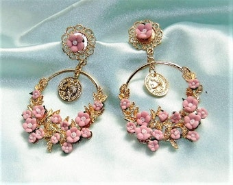 Statement earrings pink gold earrings of romantic chandeliers