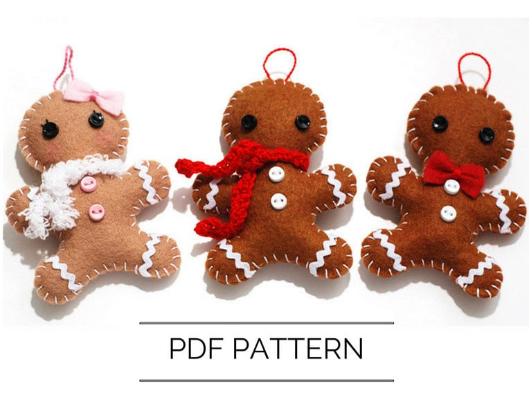 DIY Gingerbread Man Ornament PDF Pattern Christmas