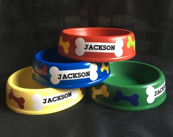 Paw patrol theme party serving dog bowls, personalized decorations