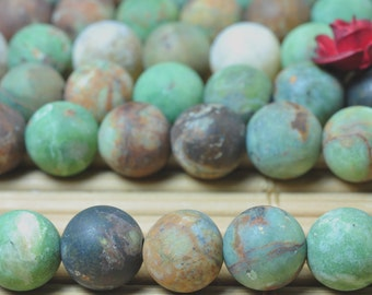 58 pcs of Natural Green Peruvian Opa matte round beads in 6 mm